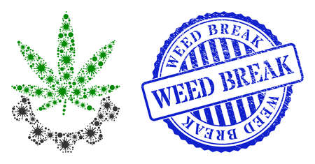 Contagious mosaic cannabis industry icon, and grunge WEED BREAK seal. Cannabis industry mosaic for medical templates, and grunge round blue seal. Vector mosaic is constructed from random virus items. 矢量图像