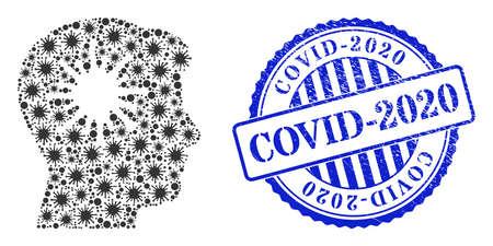 Covid mosaic coronavirus brain icon, and grunge COVID-2020 seal stamp. Coronavirus brain collage for epidemic templates, and grunge round blue seal.