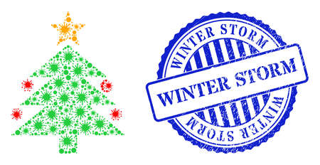 Contagious collage christmas tree icon, and grunge WINTER STORM seal. Christmas tree collage for pandemic templates, and corroded round blue stamp seal. 矢量图像