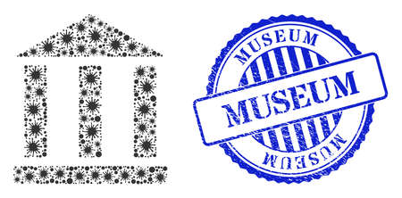 Coronavirus mosaic library building icon, and grunge MUSEUM seal stamp. Library building mosaic for medical templates, and grunge round blue seal imitation.