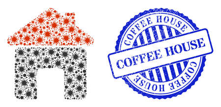 Contagious mosaic house icon, and grunge COFFEE HOUSE seal stamp. House collage for pandemic images, and grunge round blue seal imitation. Vector mosaic is composed with scattered cell parts.