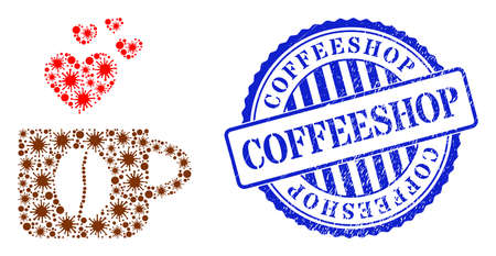 Bacterium mosaic love coffee cup icon, and grunge COFFEESHOP seal. Love coffee cup mosaic for isolation images, and grunge round blue seal. Vector mosaic is created of scattered Covid-2019 items. 矢量图像