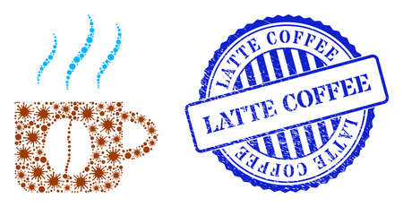 Viral collage hot coffee cup icon, and grunge LATTE COFFEE seal stamp. Hot coffee cup collage for medical images, and scratched round blue stamp seal. 矢量图像
