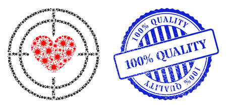 Covid-2019 collage love target icon, and grunge 100% QUALITY seal stamp. Love target mosaic for breakout images, and rubber round blue seal print. Vector mosaic is formed with random Covid-2019 icons.