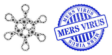 Viral collage virus icon, and grunge MERS VIRUS seal stamp. Virus collage for isolation templates, and grunge round blue stamp seal. Vector mosaic is made with randomized cell elements.
