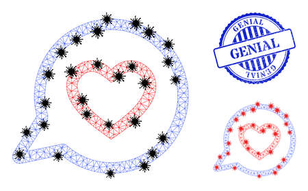 Mesh polygonal romantic heart message symbols illustration with outbreak style, and distress blue round Genial seal.