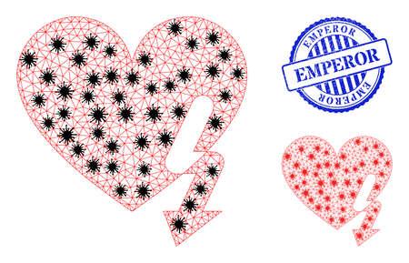 Mesh polygonal love heart strike icons illustration with outbreak style, and distress blue round Emperor badge. Vektoros illusztráció