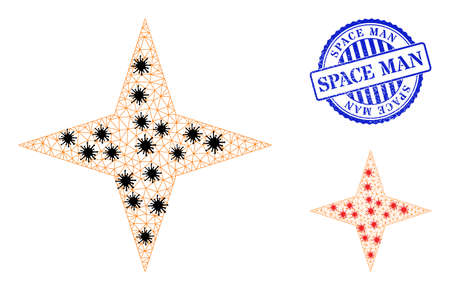 Mesh polygonal space star symbols illustration in infection style, and scratched blue round Space Man badge. Carcass model is created from space star icon with black and red infection centers.