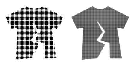 Dotted halftone torn t-shirt icon. Vector halftone concept of torn t-shirt icon done of spheric items. Ilustracje wektorowe