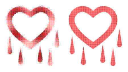 Dot halftone crying heart icon. Vector halftone concept of crying heart symbol formed of round points.