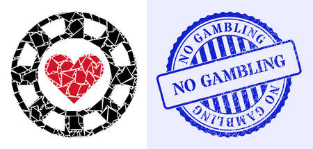 Shards mosaic hearts casino chip icon, and blue round NO GAMBLING scratched stamp seal with word inside round shape. Hearts casino chip mosaic icon of fragment elements which have randomized sizes,