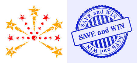 Fraction mosaic pyrotechnic salute icon, and blue round SAVE AND WIN grunge stamp imitation with text inside round shape. Pyrotechnic salute collage icon of fraction items which have variable sizes,