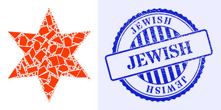 Shard mosaic six pointed star icon, and blue round JEWISH grunge stamp seal with caption inside round form. Six pointed star collage icon of shatter particles which have various sizes, and positions, 矢量图像