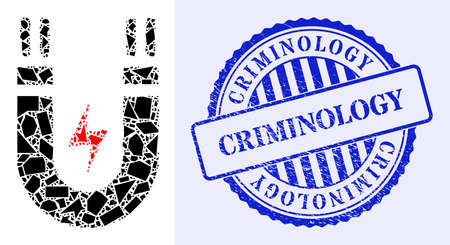Spall mosaic magnetic power icon, and blue round CRIMINOLOGY grunge seal with text inside round form. Magnetic power mosaic icon of spall elements which have randomized sizes, and positions,