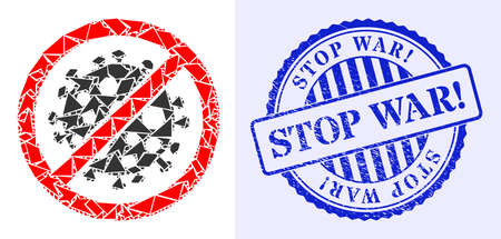 Debris mosaic stop covid infection icon, and blue round STOP WAR! corroded stamp imitation with caption inside round form. 矢量图像
