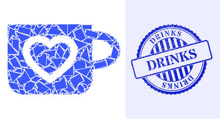 Debris mosaic favourite cup icon, and blue round DRINKS corroded stamp with word inside round shape. Favourite cup mosaic icon of debris parts which have randomized sizes, and positions, 矢量图像