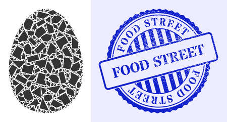 Shard mosaic egg icon, and blue round FOOD STREET rubber badge with tag inside round shape. Egg mosaic icon of shard particles which have variable sizes, and positions, and color hues. 矢量图像