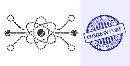 Shatter mosaic quantum circuit icon, and blue round COMMON CORE grunge stamp seal with word inside round shape. Quantum circuit mosaic icon of debris parts which have different sizes, and positions,