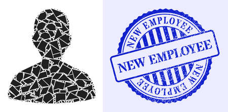 Shard mosaic person profile icon, and blue round NEW EMPLOYEE unclean stamp with caption inside round form. Person profile collage icon of shard elements which have randomized sizes, and positions,