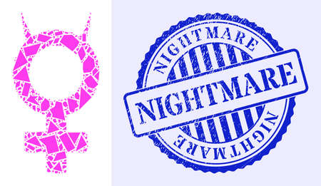 Spall mosaic devil female symbol icon, and blue round NIGHTMARE textured stamp seal with word inside circle shape. Devil female symbol mosaic icon of spall elements which have variable sizes, 矢量图像