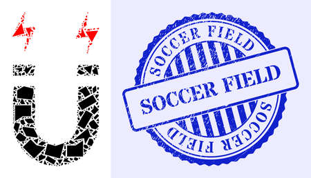 Spall mosaic horseshoe magnet icon, and blue round SOCCER FIELD scratched stamp with word inside round shape. Horseshoe magnet mosaic icon of fraction parts which have various sizes, and positions,