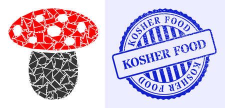 Debris mosaic mushroom icon, and blue round KOSHER FOOD rubber stamp seal with caption inside circle shape. Mushroom collage icon of detritus particles which have variable sizes, and positions, 矢量图像