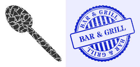 Debris mosaic spoon icon, and blue round BAR & GRILL grunge stamp seal with caption inside round form. Spoon mosaic icon of fraction items which have different sizes, and positions, and color tones.