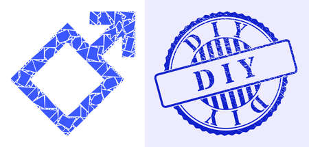 Debris mosaic male symbol icon, and blue round D I Y unclean stamp with tag inside round form. Male symbol collage icon of fraction items which have variable sizes, and positions, and color tints.