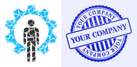 Fraction mosaic human resources icon, and blue round YOUR COMPANY corroded stamp seal with word inside round form. Human resources mosaic icon of detritus items which have variable sizes,