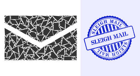 Detritus mosaic mail icon, and blue round SLEIGH MAIL rough stamp with caption inside round shape. Mail mosaic icon of shard particles which have randomized sizes, and positions, and color tinges. 矢量图像