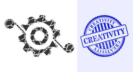Debris mosaic gear solution icon, and blue round CREATIVITY grunge seal with caption inside round form. Gear solution mosaic icon of fragment parts which have randomized sizes, and positions,