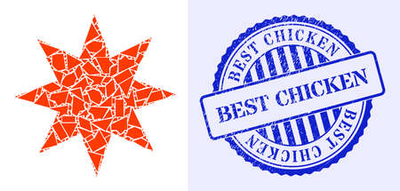 Shatter mosaic eight pointed star icon, and blue round BEST CHICKEN grunge stamp imitation with tag inside round form. Eight pointed star collage icon of spall parts which have randomized sizes,