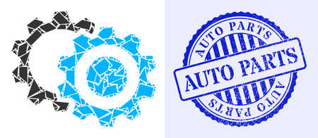 Shatter mosaic gears icon, and blue round AUTO PARTS textured stamp seal with tag inside round form. Gears mosaic icon of shard elements which have different sizes, and positions, and color tinges. 矢量图像