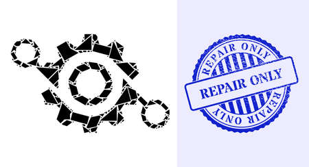 Debris mosaic gear project icon, and blue round REPAIR ONLY scratched stamp with word inside round form. Gear project mosaic icon of spall items which have variable sizes, and positions,