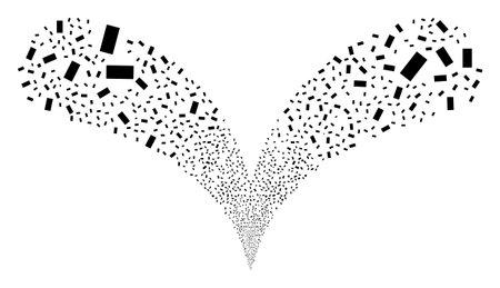 Rectangle double fireworks fountain. Rectangle fireworks double fountain. Object fountain done from random rectangle pictograms as fireworks.