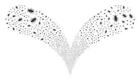 Bug twice fireworks explosion. Bug stream twice fountain. Object fountain is created from random bug symbols as fireworks. 矢量图像