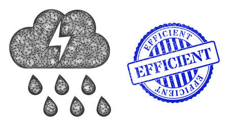 Vector net thunderstorm cloud frame, and Efficient blue rosette dirty stamp. Hatched frame net symbol designed with thunderstorm cloud icon, is made with crossed lines. Vektoros illusztráció
