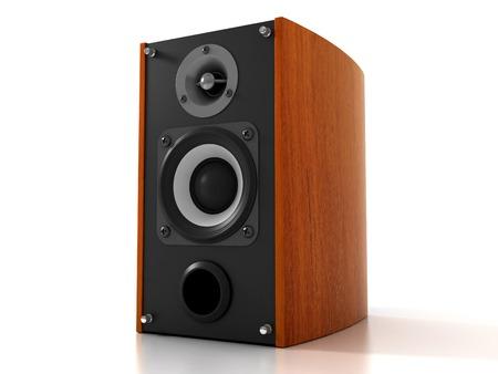 loud speaker: High Fidelity Wood Loud Speaker. Isolated on White Background. 3D illustration