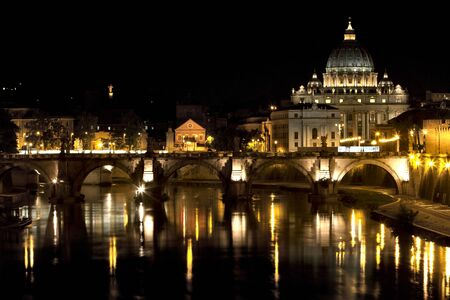 st  peter: st. peter at nigh. Vatican city, Rome Stock Photo