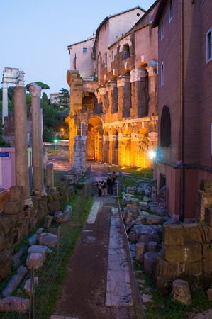 ghetto: Teatro Marcello and Portico Ottavia.  Jewish ghetto in Rome