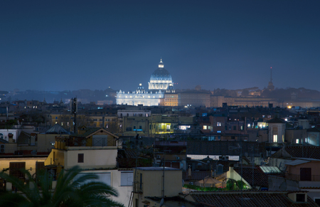 monti: Roofs of rome and St. Peters Basilica wiew from Trinita? dei Monti