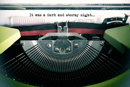 Vintage text made by old typewriter, It was a dark and stormy night