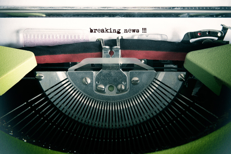 written communication: Vintage text made by old typewriter, breaking news