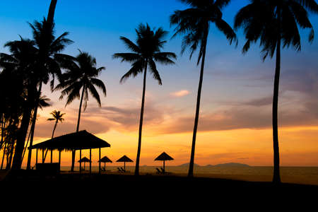 langkawi: Sunrise at a tropical beach in Asia
