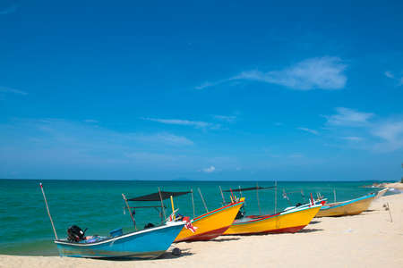 terengganu: Colored fishing boat in Terengganu, Malaysia Stock Photo