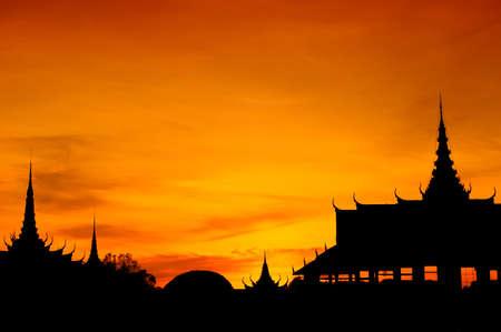 penh: Silhouette of Cambodian Royal Palace, Phnom Penh, Cambodia   Stock Photo