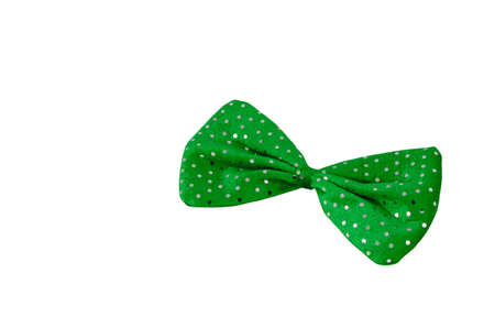 A bright green bow tie with sequins isolated on white.                                Stock Photo - 8959944