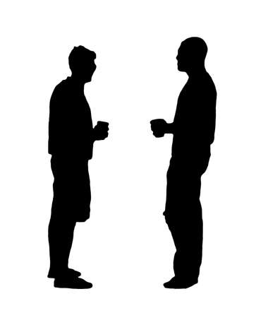 man profile: A black and white silhouette of two men drinking beer. Stock Photo