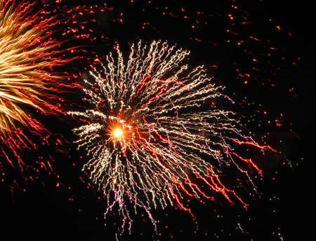 Fireworks bursting against a black night sky.