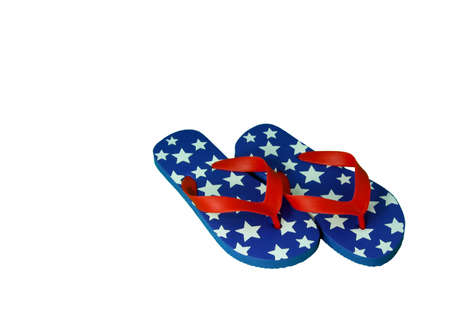 A pair of red, white, and blue 4th of July flip-flops isolated on white. Stock Photo - 9655822